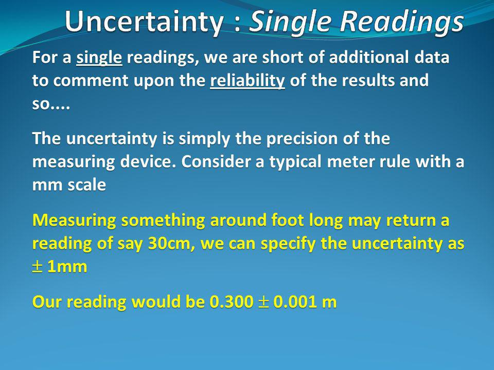 For a single readings, we are short of additional data to comment upon the reliability of the results and so....