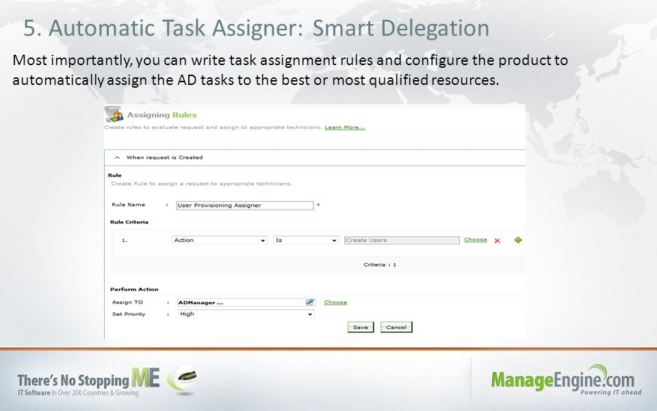 5. Automatic Task Assigner: Smart Delegation Most importantly, you can write task assignment rules and configure the product to automatically assign t