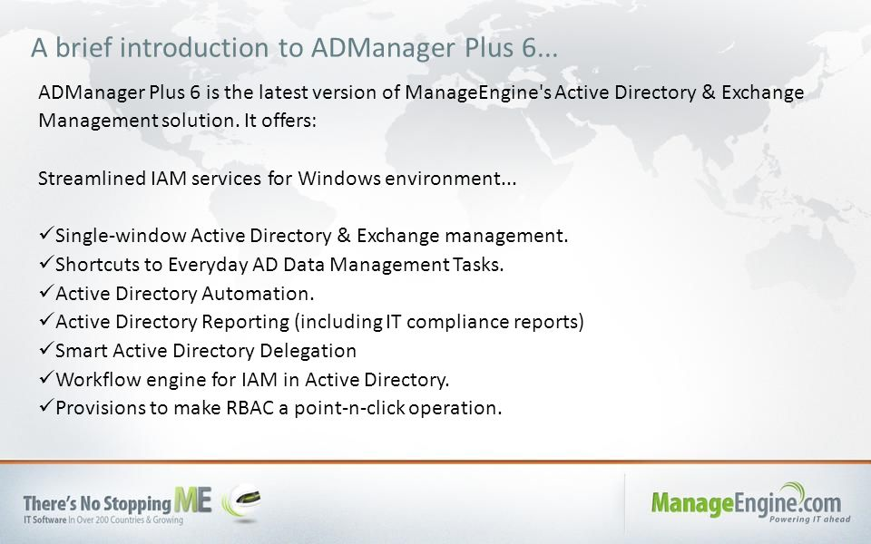 A brief introduction to ADManager Plus 6...