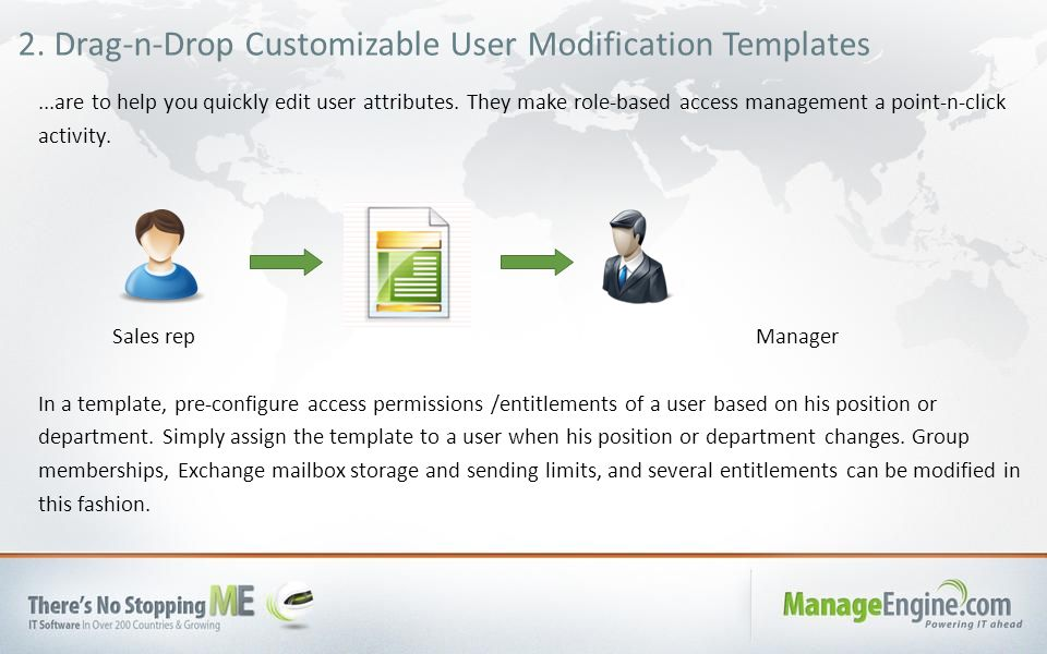 2. Drag-n-Drop Customizable User Modification Templates...are to help you quickly edit user attributes. They make role-based access management a point
