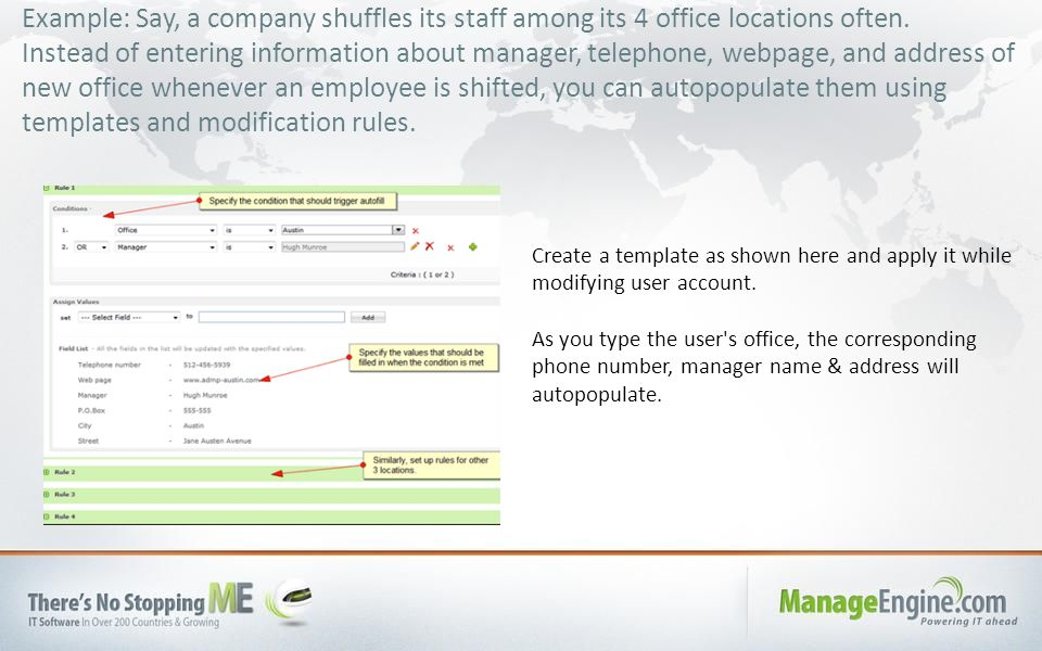 Example: Say, a company shuffles its staff among its 4 office locations often. Instead of entering information about manager, telephone, webpage, and