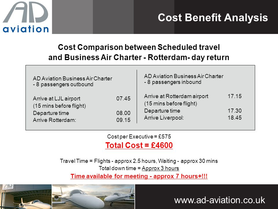 www.ad-aviation.co.uk Cost Comparison between Scheduled travel and Business Air Charter - Rotterdam- day return Cost Benefit Analysis AD Aviation Business Air Charter - 8 passengers outbound Arrive at LJL airport 07.45 (15 mins before flight) Departure time 08.00 Arrive Rotterdam:09.15 Cost per Executive = £575 Total Cost = £4600 Travel Time = Flights - approx 2.5 hours, Waiting - approx 30 mins Total down time = Approx 3 hours Time available for meeting - approx 7 hours+!!.