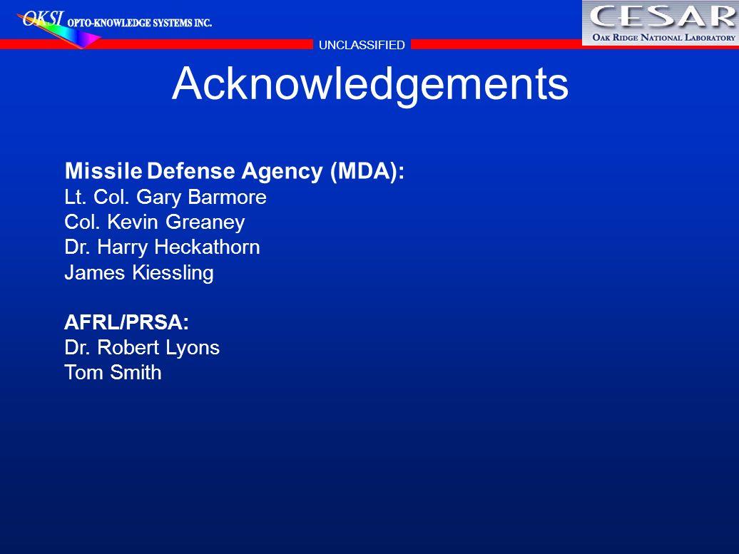 UNCLASSIFIED Acknowledgements Missile Defense Agency (MDA): Lt. Col. Gary Barmore Col. Kevin Greaney Dr. Harry Heckathorn James Kiessling AFRL/PRSA: D