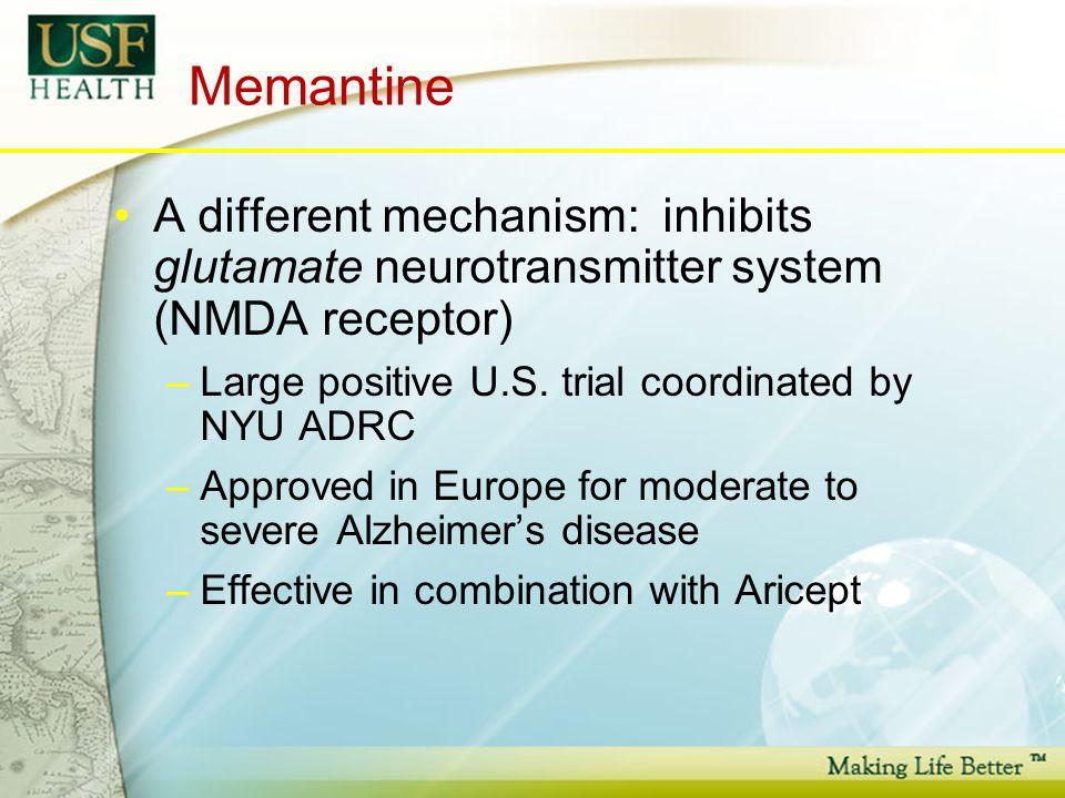 Memantine A different mechanism: inhibits glutamate neurotransmitter system (NMDA receptor) –Large positive U.S.