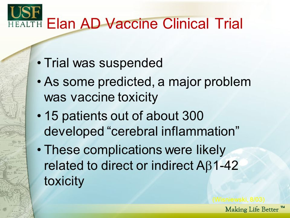 Elan AD Vaccine Clinical Trial Trial was suspended As some predicted, a major problem was vaccine toxicity 15 patients out of about 300 developed cerebral inflammation These complications were likely related to direct or indirect A 1-42 toxicity (Wisniewski, 8/03)