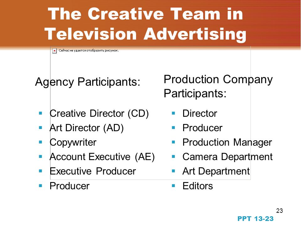 22 Art Direction in Television Advertising PPT TV has changed the face of advertising TV is about moving visuals It can leave impressions, set moods, tell stories It can get consumers to notice the brand TV production is complex, with many people and requires tremendous organizational skills