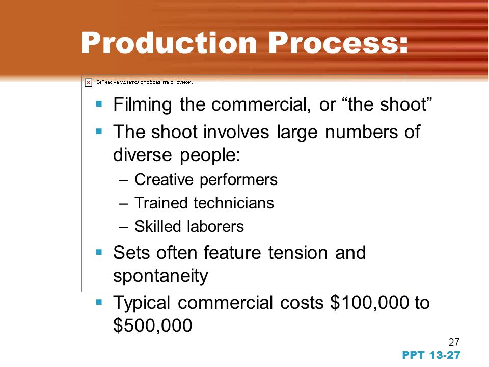 26 PPT 13-26 Preproduction Process for TV Advertising Selection of location, sets, and cast Creation of a production timetable Review of bids from pro