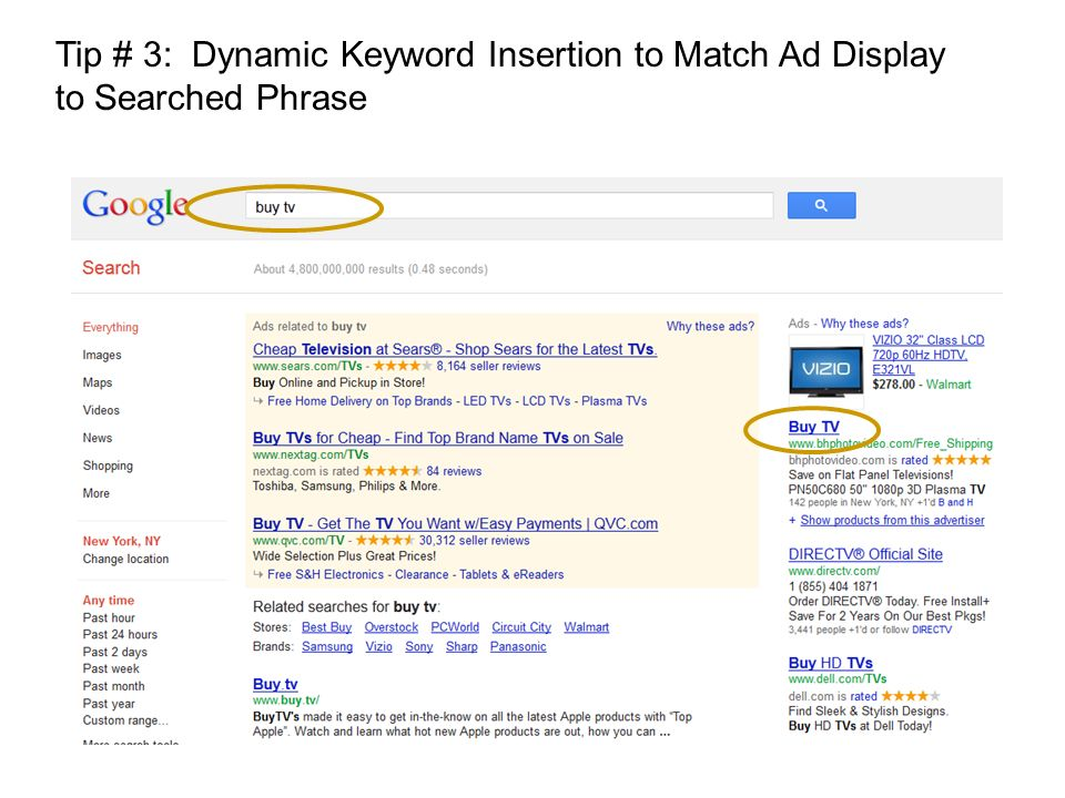 Tip # 3: Dynamic Keyword Insertion to Match Ad Display to Searched Phrase
