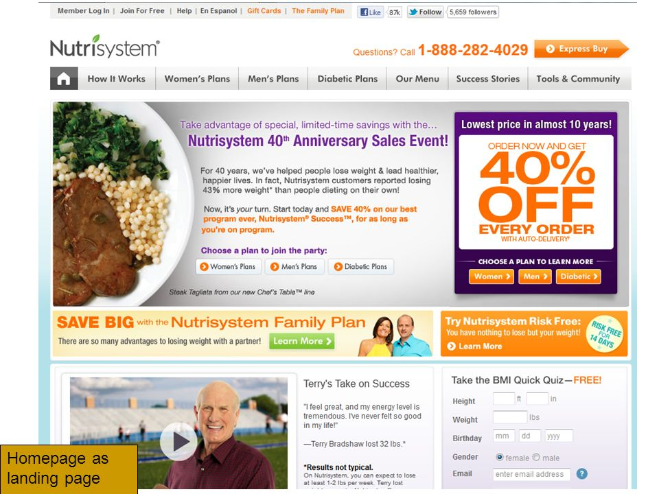 Homepage as landing page