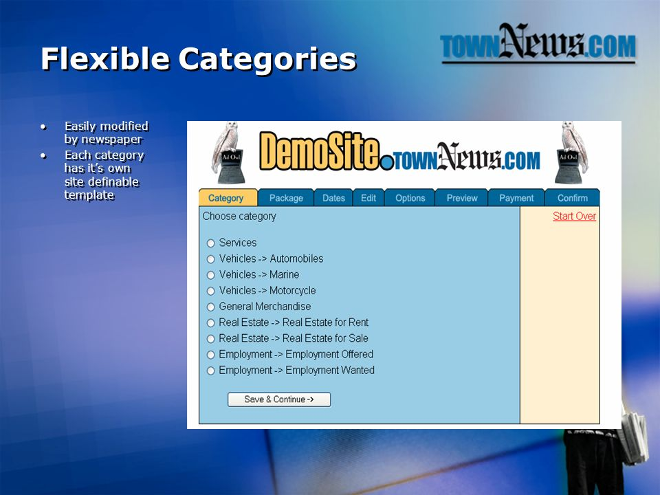 Flexible Categories Easily modified by newspaper Each category has its own site definable template Easily modified by newspaper Each category has its own site definable template