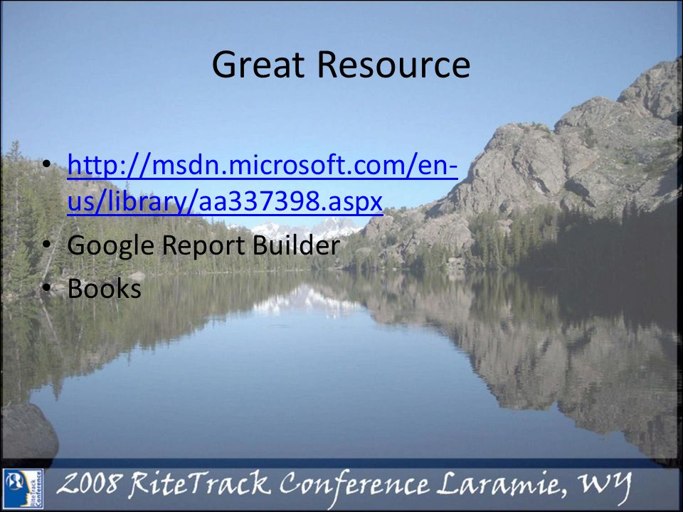Great Resource   us/library/aa aspx   us/library/aa aspx Google Report Builder Books