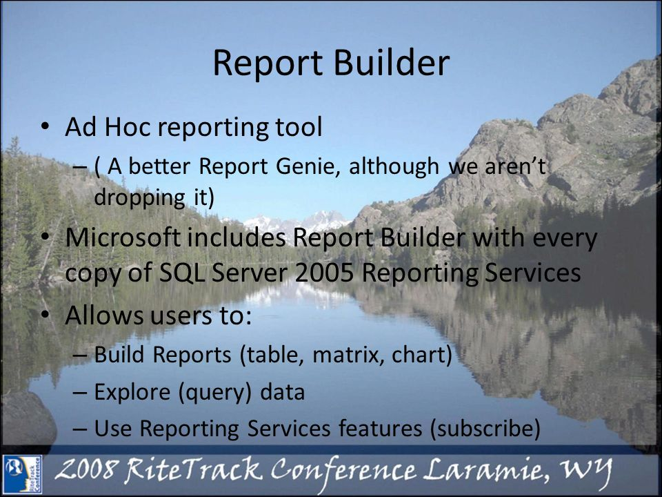 Great Resource http://msdn.microsoft.com/en- us/library/aa337398.aspx http://msdn.microsoft.com/en- us/library/aa337398.aspx Google Report Builder Books