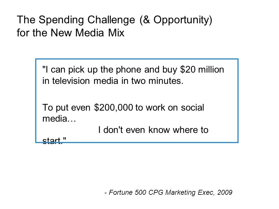 The Spending Challenge (& Opportunity) for the New Media Mix I can pick up the phone and buy $20 million in television media in two minutes.