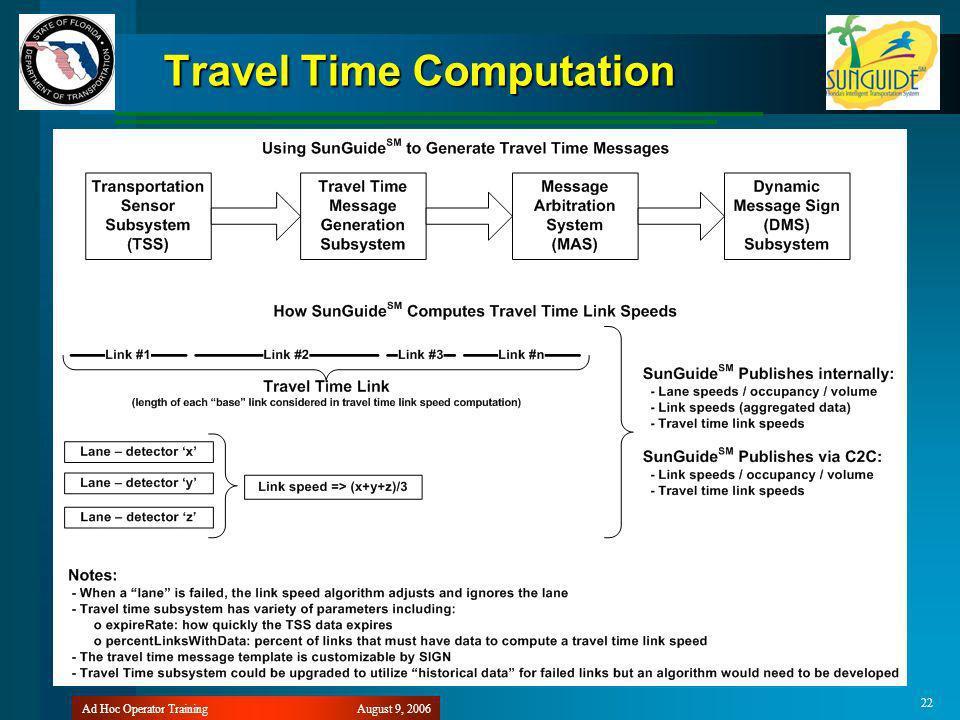 August 9, 2006Ad Hoc Operator Training 22 Travel Time Computation