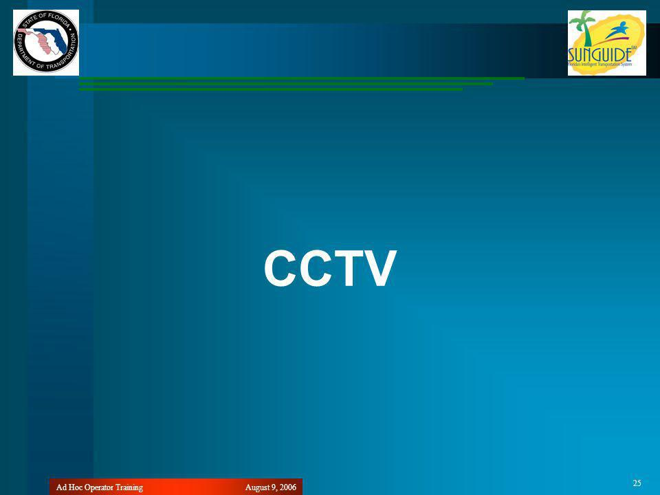 August 9, 2006Ad Hoc Operator Training 25 CCTV