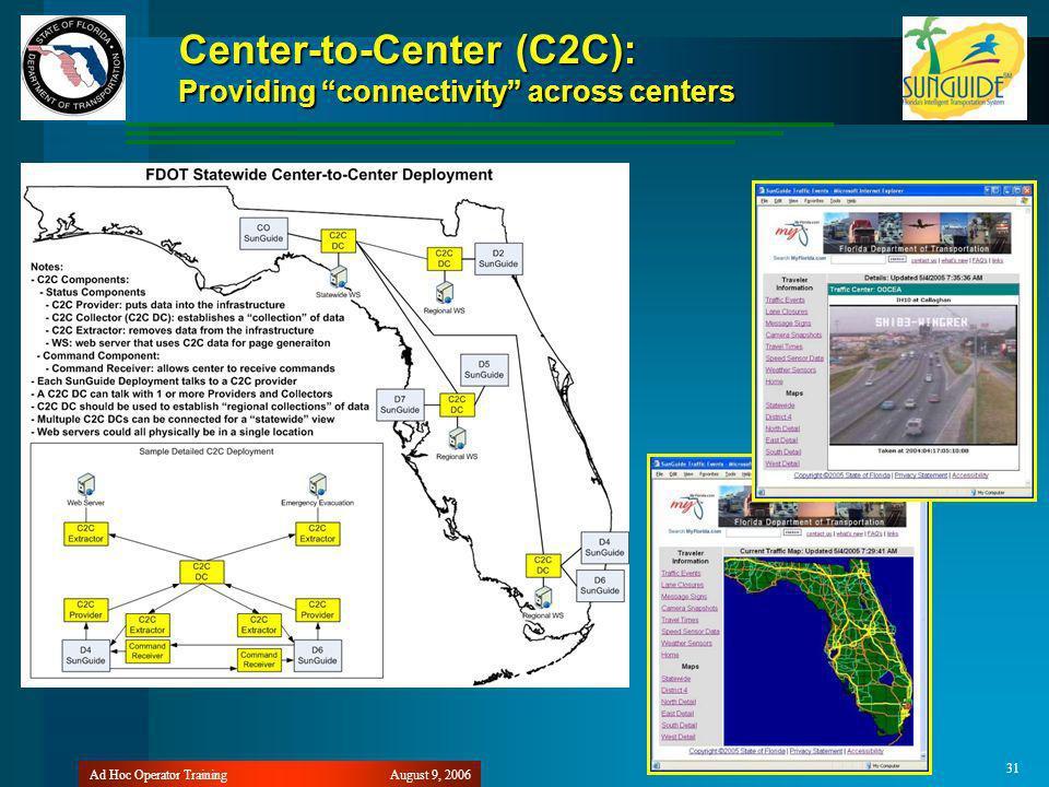 August 9, 2006Ad Hoc Operator Training 31 Center-to-Center (C2C): Providing connectivity across centers