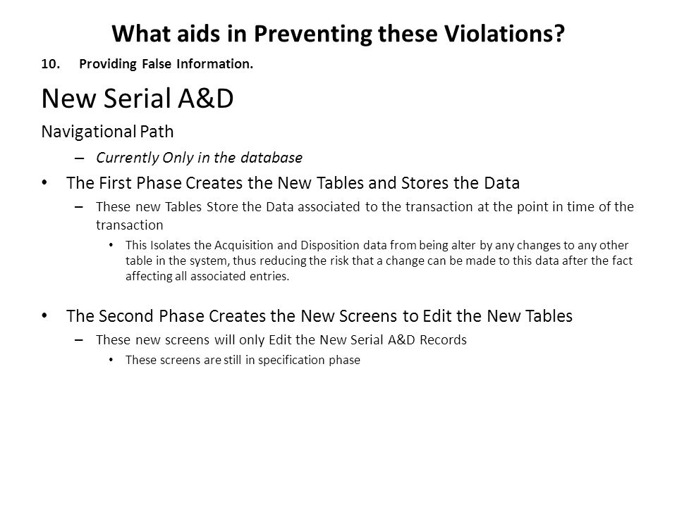 What aids in Preventing these Violations.10.Providing False Information.