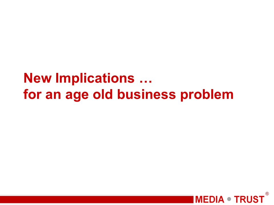 ® New Implications … for an age old business problem