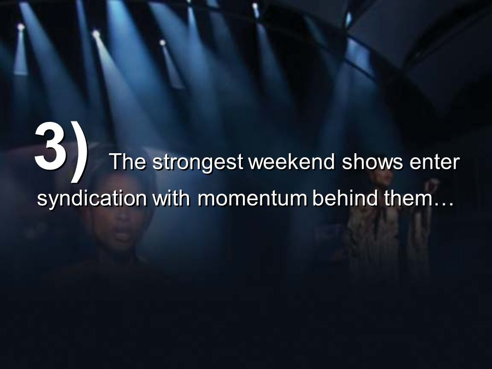 3) The strongest weekend shows enter syndication with momentum behind them…