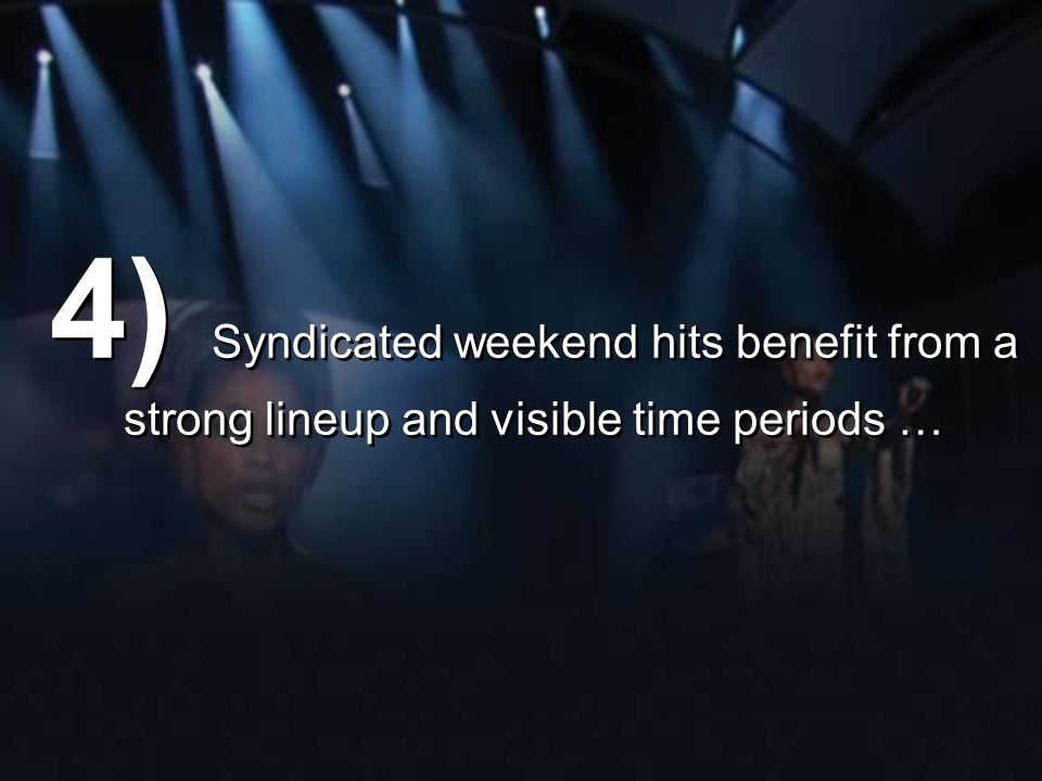 4) Syndicated weekend hits benefit from a strong lineup and visible time periods …