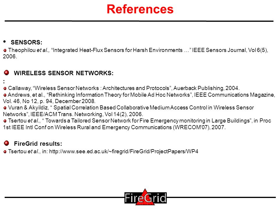 41 References SENSORS: Theophilou et al., Integrated Heat-Flux Sensors for Harsh Environments … IEEE Sensors Journal, Vol 6(5), 2006.