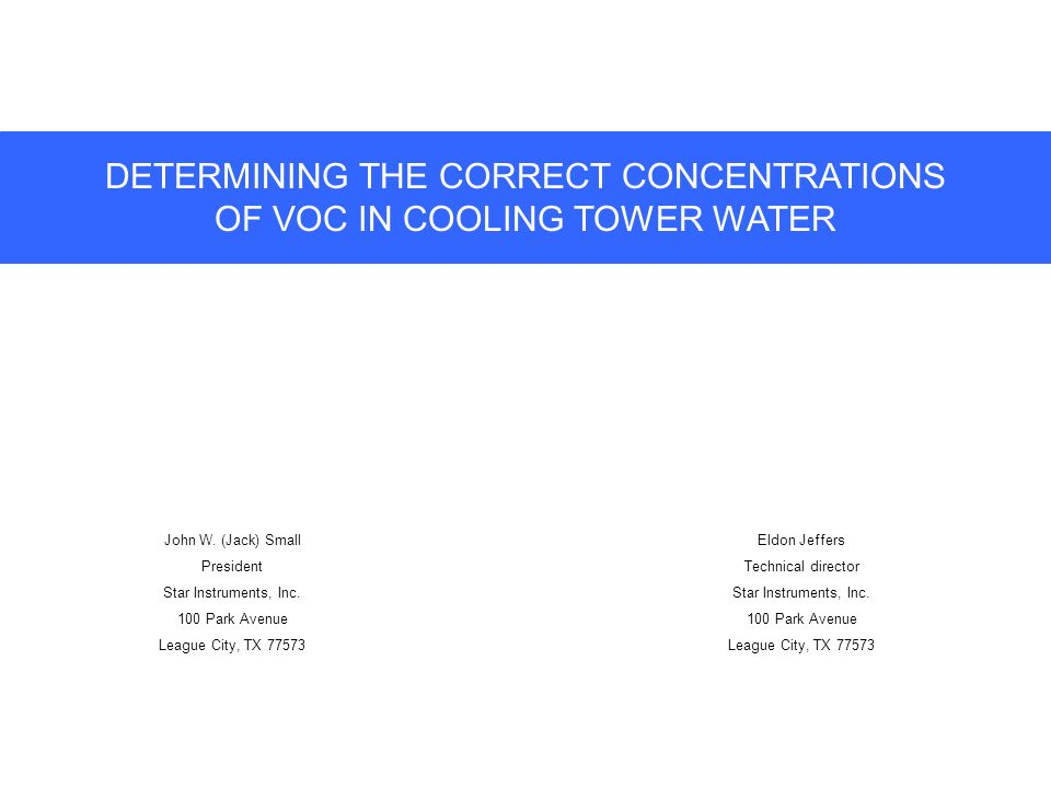 DETERMINING THE CORRECT CONCENTRATIONS OF VOC IN COOLING TOWER WATER John W.