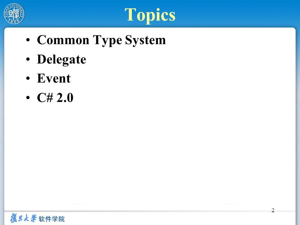 2 Topics Common Type System Delegate Event C# 2.0