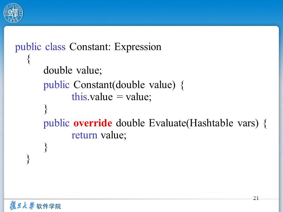 21 public class Constant: Expression { double value; public Constant(double value) { this.value = value; } public override double Evaluate(Hashtable v
