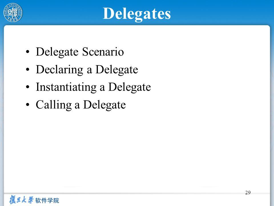 29 Delegates Delegate Scenario Declaring a Delegate Instantiating a Delegate Calling a Delegate