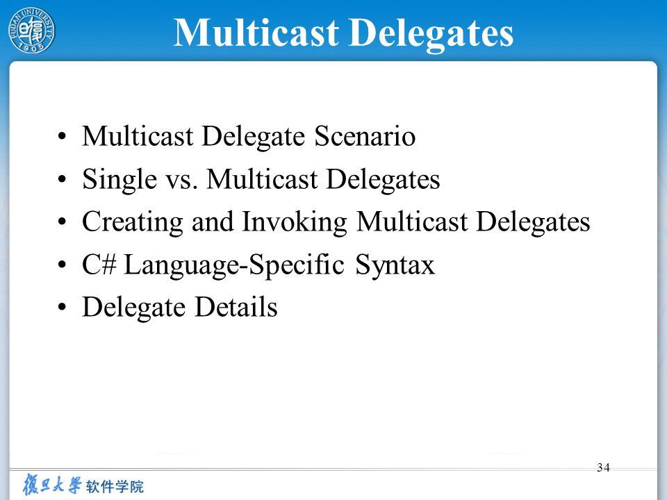34 Multicast Delegates Multicast Delegate Scenario Single vs. Multicast Delegates Creating and Invoking Multicast Delegates C# Language-Specific Synta