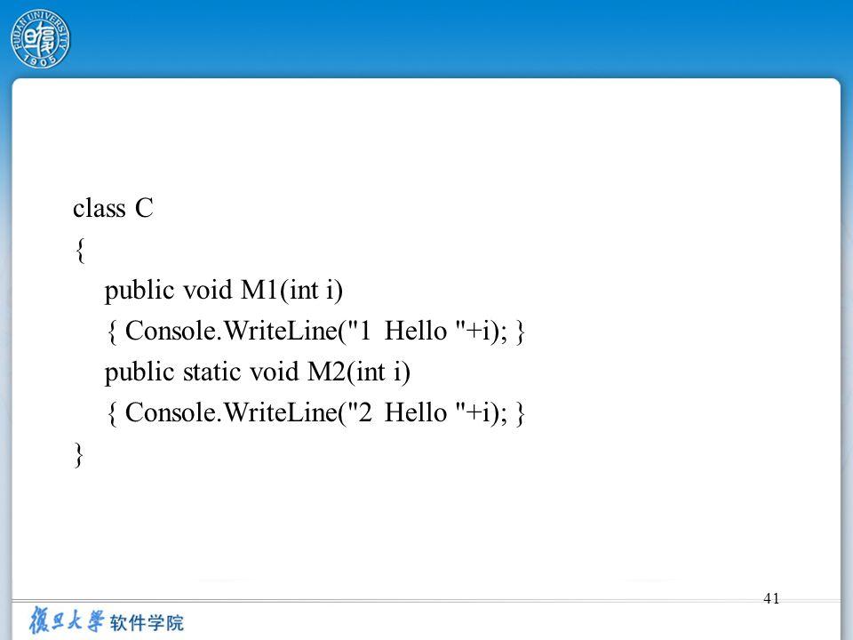 41 class C { public void M1(int i) { Console.WriteLine(