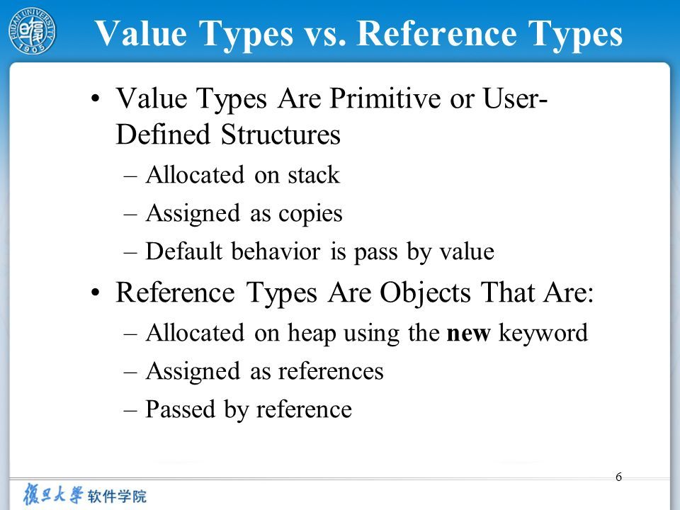 6 Value Types vs. Reference Types Value Types Are Primitive or User- Defined Structures –Allocated on stack –Assigned as copies –Default behavior is p