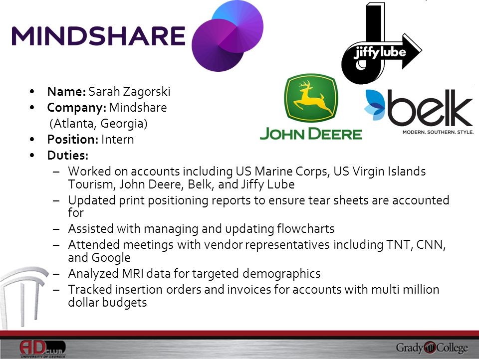 Name: Sarah Zagorski Company: Mindshare (Atlanta, Georgia) Position: Intern Duties: –Worked on accounts including US Marine Corps, US Virgin Islands T
