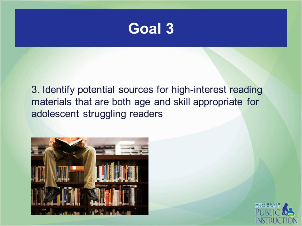 3. Identify potential sources for high-interest reading materials that are both age and skill appropriate for adolescent struggling readers Goal 3