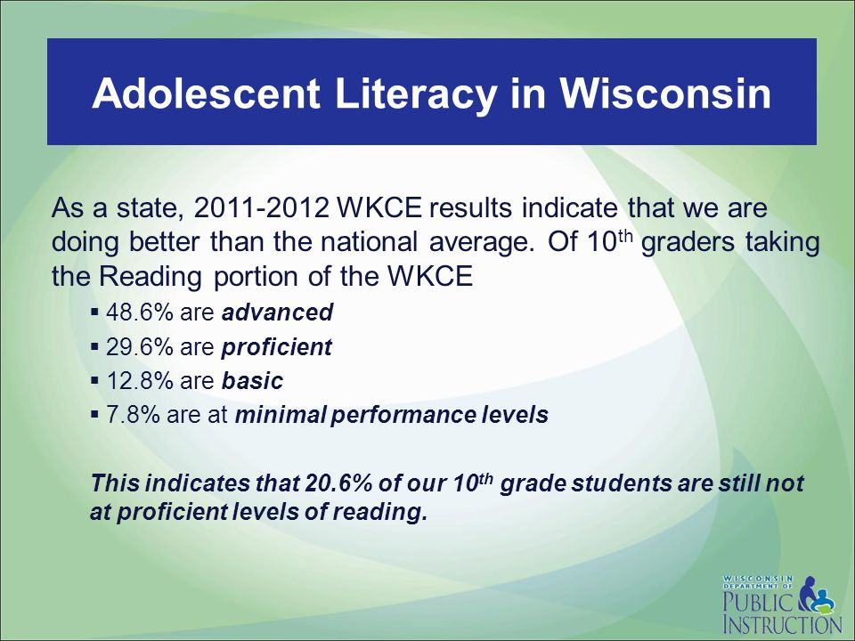 Read to Lead As a state, 2011-2012 WKCE results indicate that we are doing better than the national average. Of 10 th graders taking the Reading porti