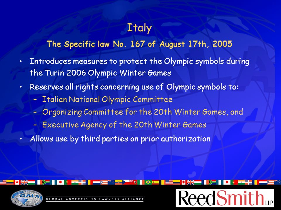 Italy The Specific law No.