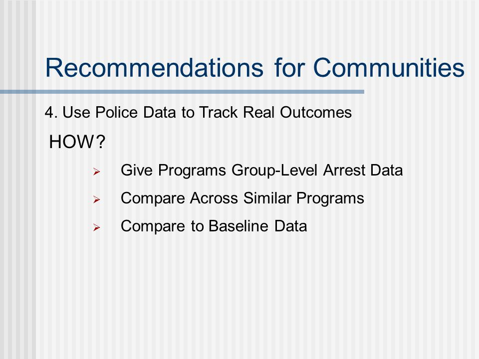 Recommendations for Communities 4.