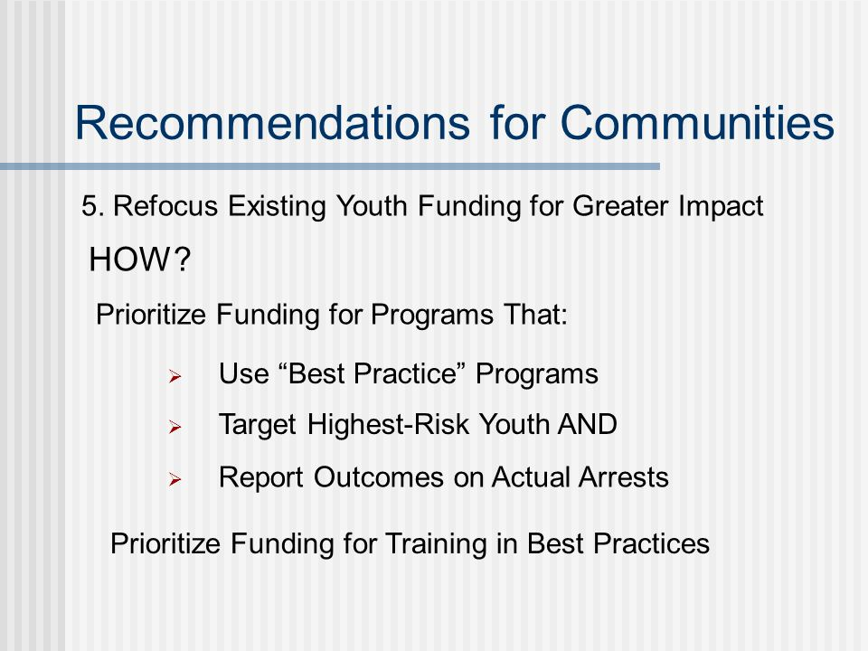 Recommendations for Communities 5.