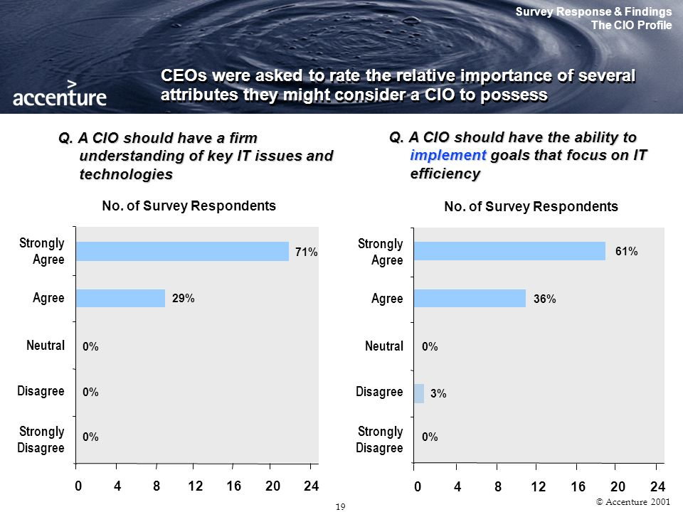 18 © Accenture 2001 Survey Response & Findings The CIO Profile Q. Which of the following profiles best suggests your CIOs employment history? With res