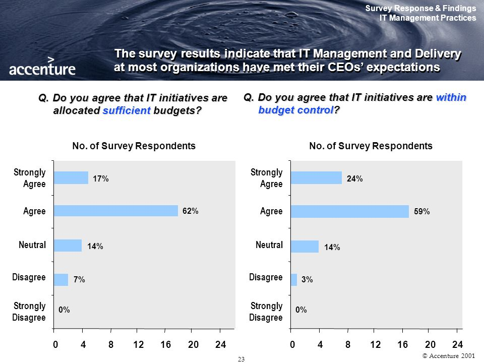 22 © Accenture 2001 In surveying the current IT scene, we found CEOs to be very involved in IT spending issues. This could be expected as IT budgets h