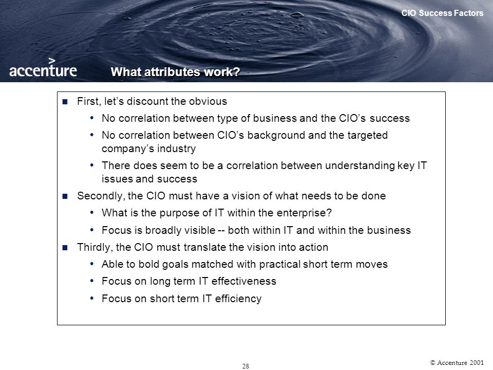 27 © Accenture 2001 The CEO IT Survey The Singapore Tribe Has Spoken What Other Tribes Had Said Agenda