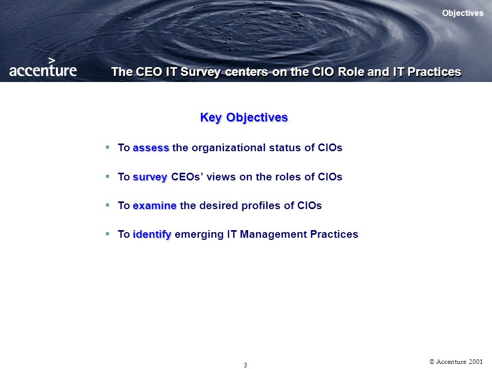 2 © Accenture 2001 The CEO IT Survey Objectives Survey Administration Survey Demographics The Singapore Tribe Has Spoken What Other Tribes Had Said Agenda