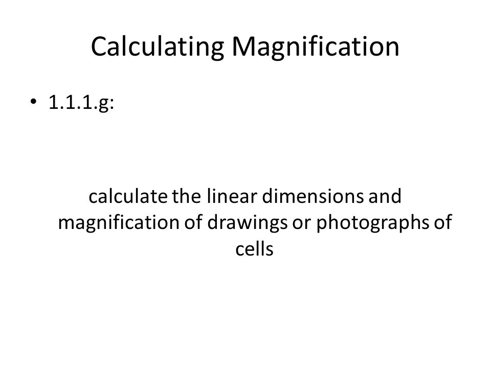 Calculating Magnification 1.1.1.g: calculate the linear dimensions and magnification of drawings or photographs of cells