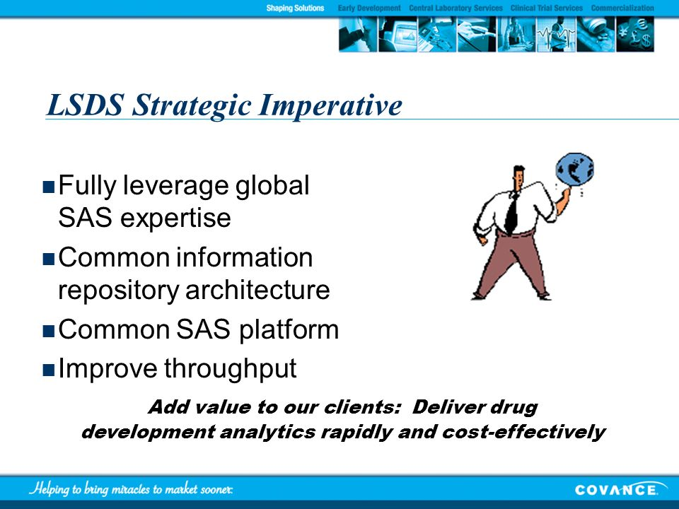 LSDS Strategic Imperative Fully leverage global SAS expertise Common information repository architecture Common SAS platform Improve throughput Add va