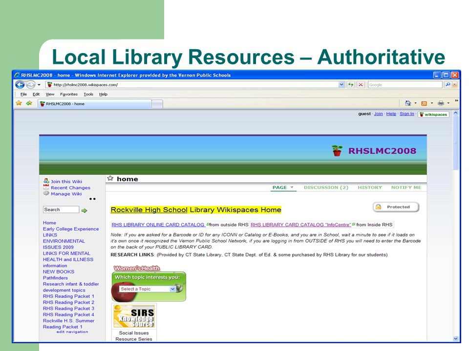 Local Library Resources – Authoritative