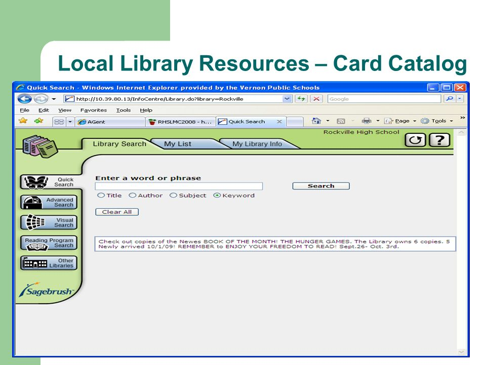Local Library Resources – Card Catalog