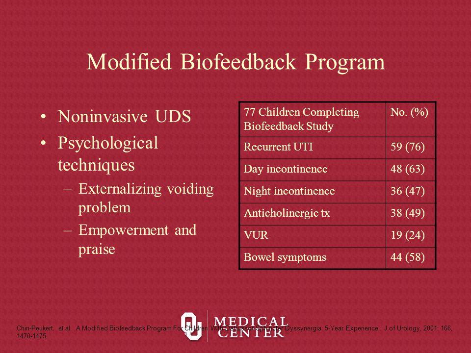 Modified Biofeedback Program Noninvasive UDS Psychological techniques –Externalizing voiding problem –Empowerment and praise Chin-Peukert, et al. A Mo