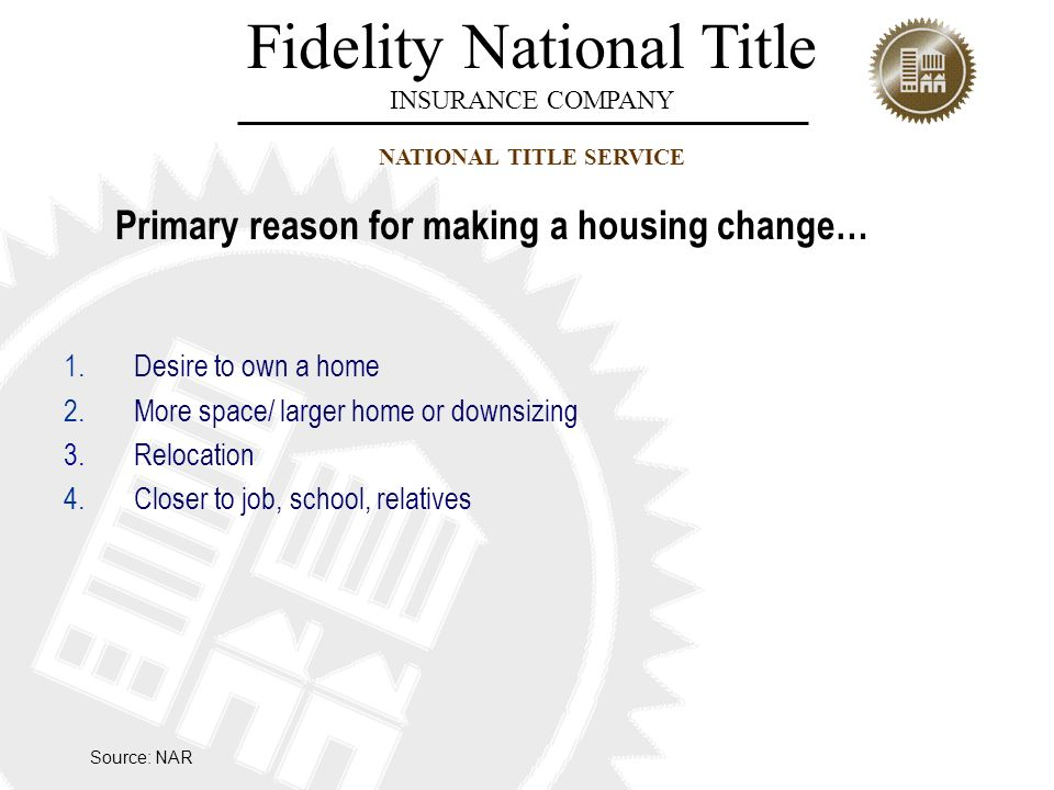 Fidelity National Title INSURANCE COMPANY NATIONAL TITLE SERVICE Primary reason for making a housing change… 1.Desire to own a home 2.More space/ larg