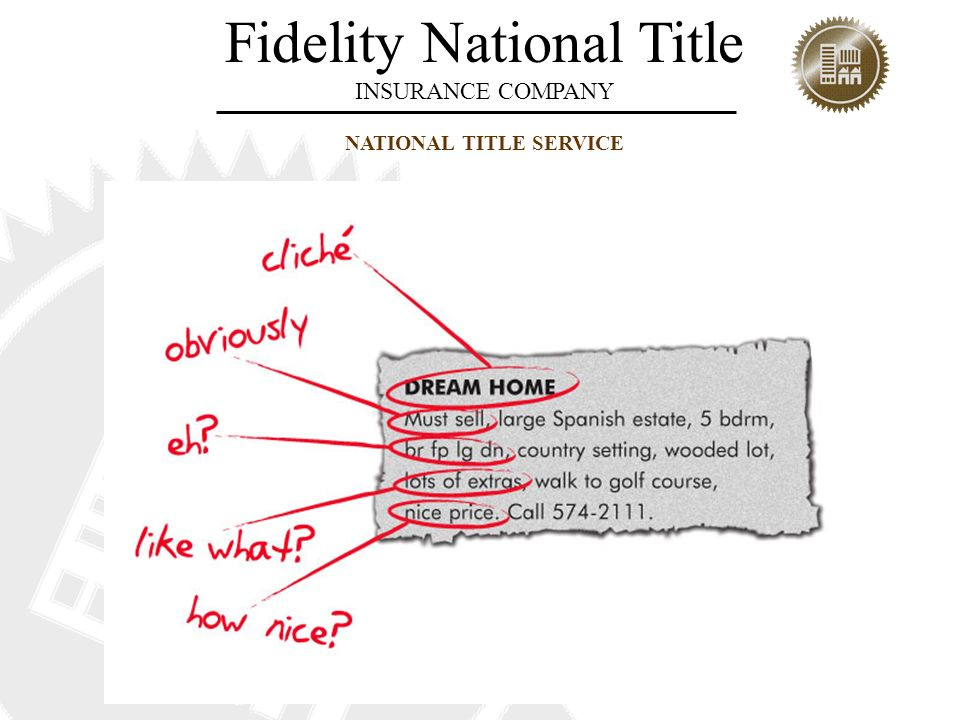 Fidelity National Title INSURANCE COMPANY NATIONAL TITLE SERVICE