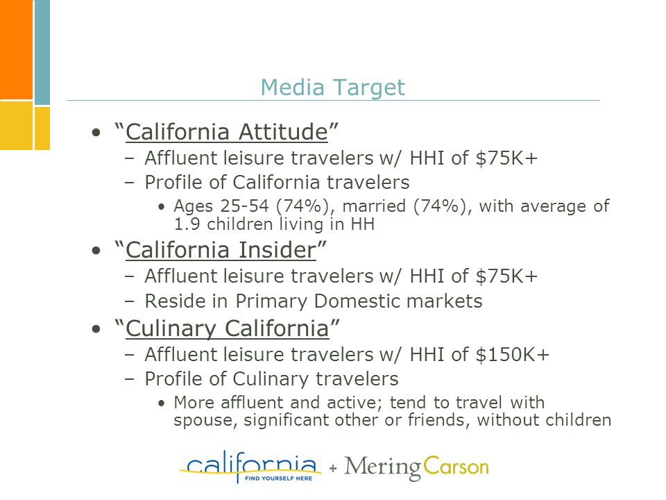 + Media Target California Attitude –Affluent leisure travelers w/ HHI of $75K+ –Profile of California travelers Ages 25-54 (74%), married (74%), with